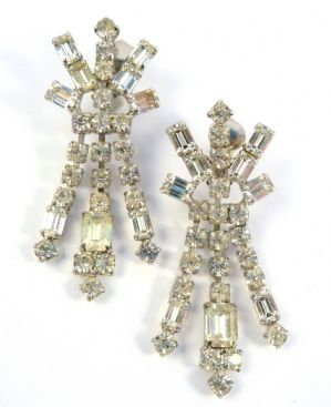 Vintage Large Art Deco Style Drop Earrings By Jewelcraft.